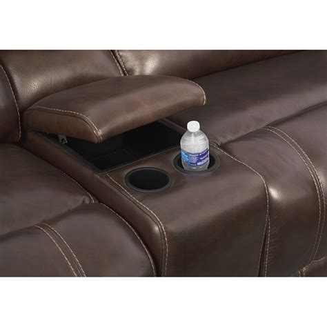 power reclining sofa with console clinton brown leather power reclining sofa with console