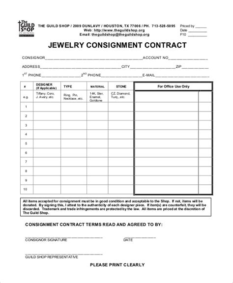 consignment agreement 10 free pdf word documents
