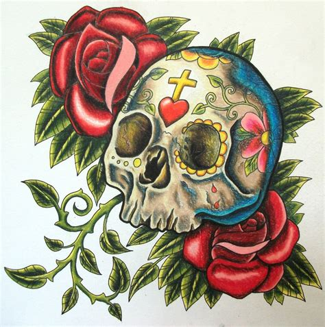 skull with roses tattoo sugar design skull tattoosugar design skull