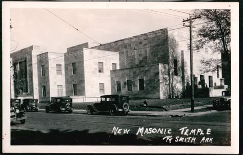 Arkadelphia Post Office by Fort Smith Ar New Masonic Temple Vtg Rppc Postcard