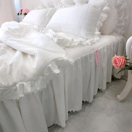 aliexpress com buy modal white and pink falbala ruffle lace bedding set queen king size