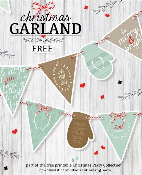 The Stork Is Coming Printable Bunting For Christmas Party Diy Paper Navidad Imprimibles Merry Bunting Template