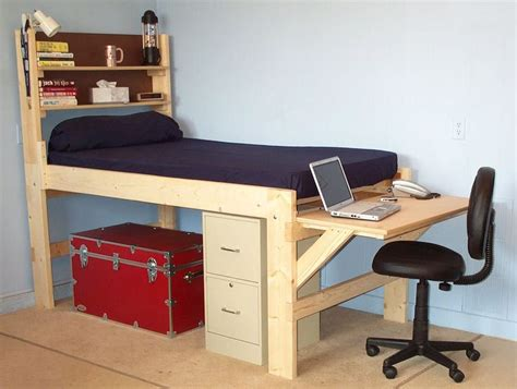 junior loft bed with desk shown with the short desk at the end of the bed high