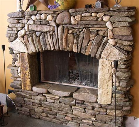 River Rock Veneer Fireplace by Masonry River Fireplace Veneer