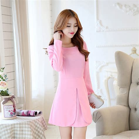 Korea Set Import Light Pink aliexpress buy new korean fashion solid color sleeve 13 20y dress for