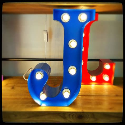 j up letter blue j 15 quot light up letter the consortium vintage