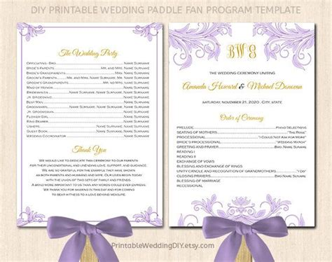 printable wedding program fan template paddle fan program