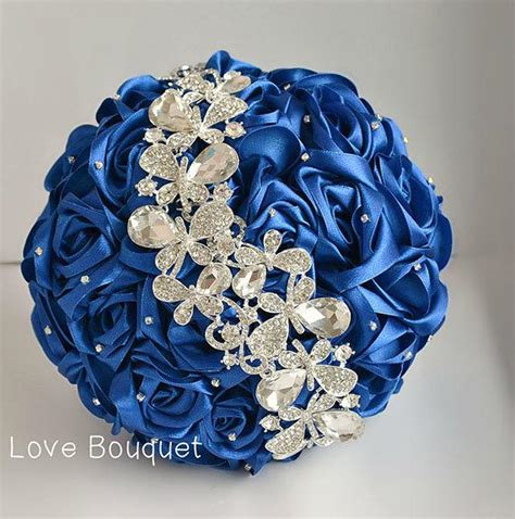 Wedding Bouquet Royal Blue by Wedding Bouquet Blue White And Silver Wedding Brooch