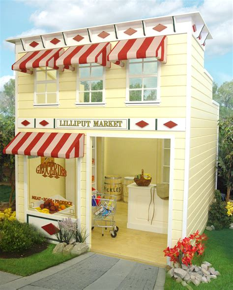 outdoor wooden play homes grocery market playhouse