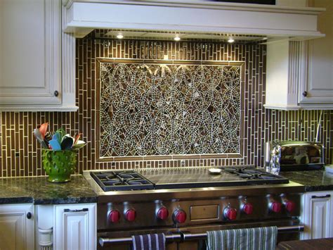 Kitchen Mosaic by Mosaic Ellipse Kitchen Backsplash And Coordinating Field Tiles