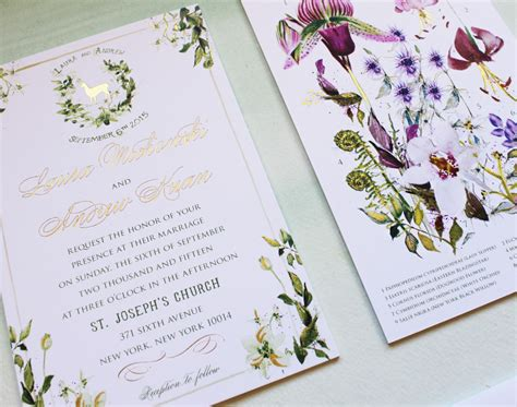 custom foil sted wedding invitations a peek into the studio watercolor and gold foil botanical wedding invitations momental