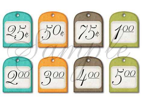 Free Printable Garage Sale Price Tags by Items Similar To Garage Sale Price Tags Printable Diy