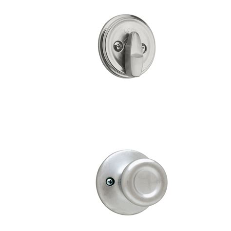 Kwikset Interior Door Knobs Shop Kwikset Tylo 1 3 4 In Satin Chrome Single Cylinder Knob Entry Door Interior Handle At Lowes