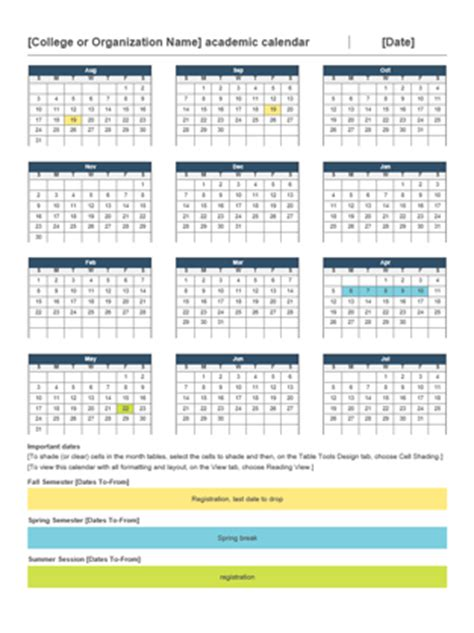 2014 2015 academic calendar office templates