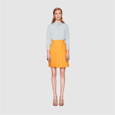 gucci silk wool pleated mini skirt in orange lyst