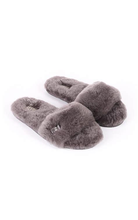 slide slipper ugg womens ugg australia womens fluff slide slipper grey