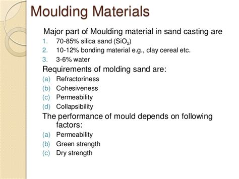 different pattern materials in casting metal casting processes including pattern making and mold