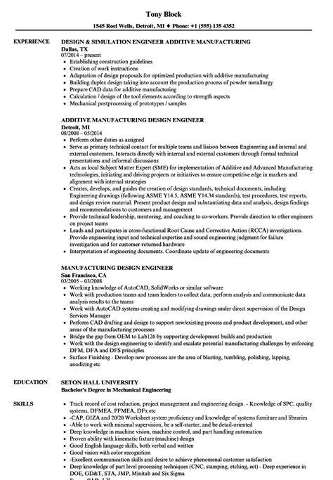 manufacturing design engineer resume sles velvet