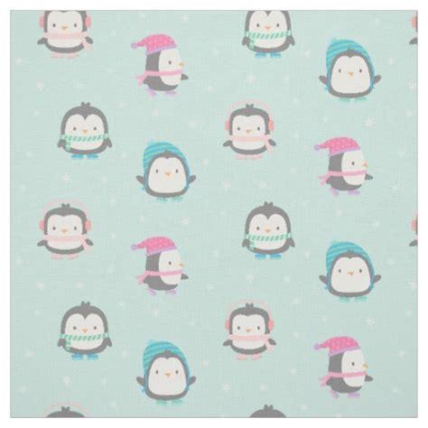 cute pattern fabric cute ice skating penguins christmas pattern fabric zazzle