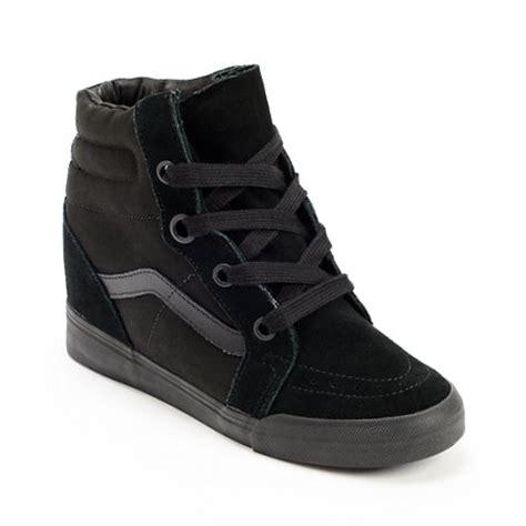 vans sk8 hi all black wedge shoes at zumiez pdp