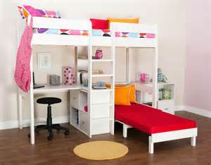 bunk beds stompa uno wooden high sleeper with futon