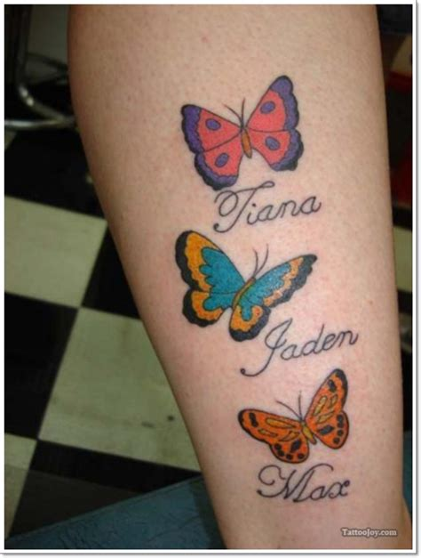 butterfly name tattoos cool colorful butterflies with names on leg