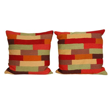 Stitched Pillows by Pillows Colorful Wool Stitched Pillow Covers With Inserts
