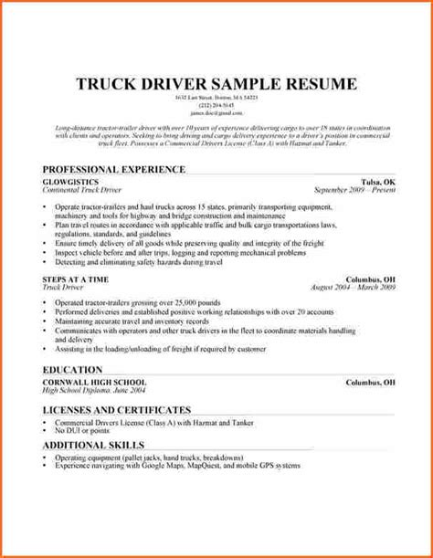 Resume Sles For Truck Drivers by Truck Driver Cover Letter Resume Genius 6 Flatbed Truck Driver Resume Financial Statement Form