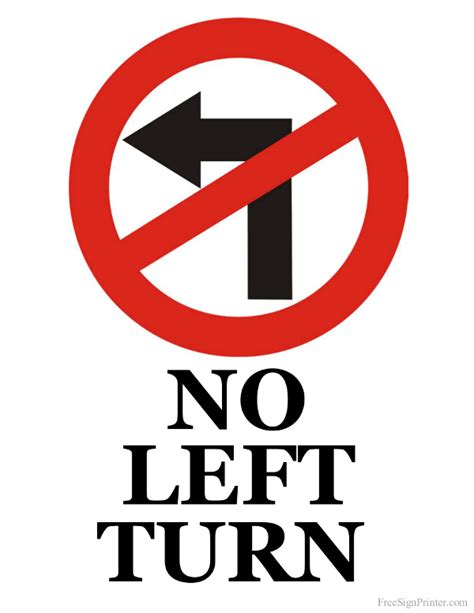 no left printable no left turn sign