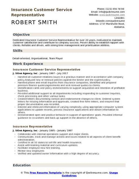 resume sles customer service insurance customer service resume with 28 images