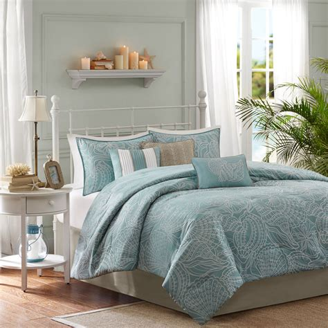 beachy bedding sets beautiful 7pc blue grey ocean beach shore nautical taupe