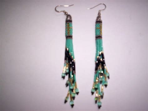 delica seed bead patterns brick stitch cylinder delica seed beading earring 12