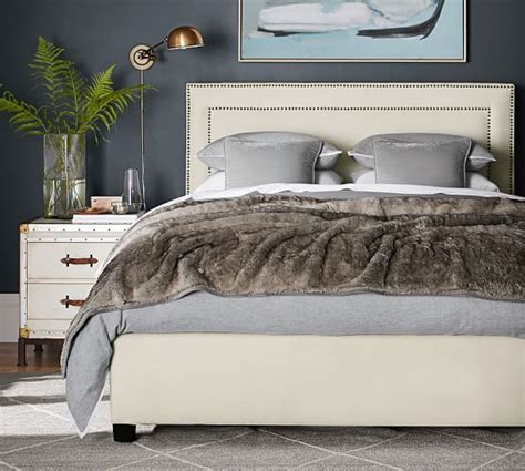 pottery barn upholstered bed tamsen square upholstered bed headboard pottery barn