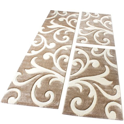 teppich beige muster bettumrandung l 228 ufer teppich modern ranken muster beige