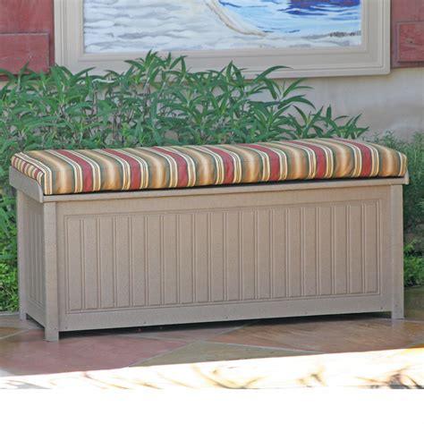 outdoor storage bench with cushion brisbane 48 in recycled plastic deck box with sunbrella