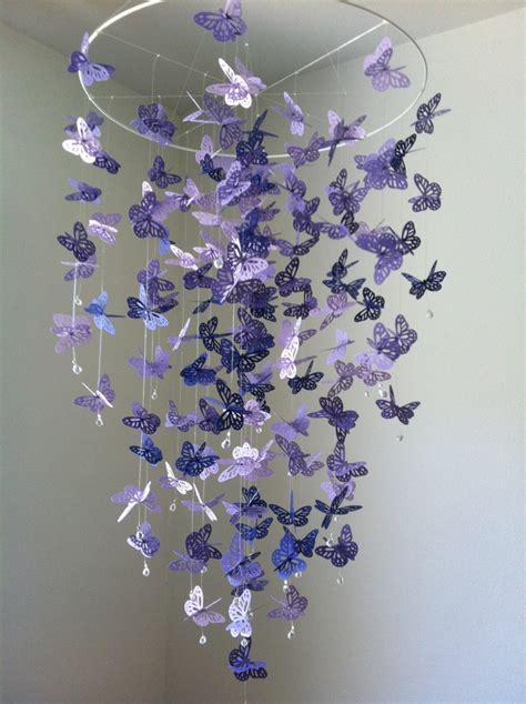 How To Make A Butterfly Chandelier Butterfly Mobile Chandelier Mobile Purple Baby Mobile