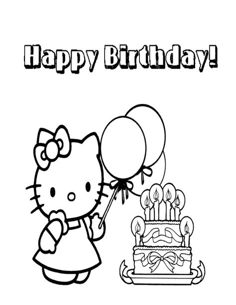 hello kitty birthday cake coloring page h m coloring pages