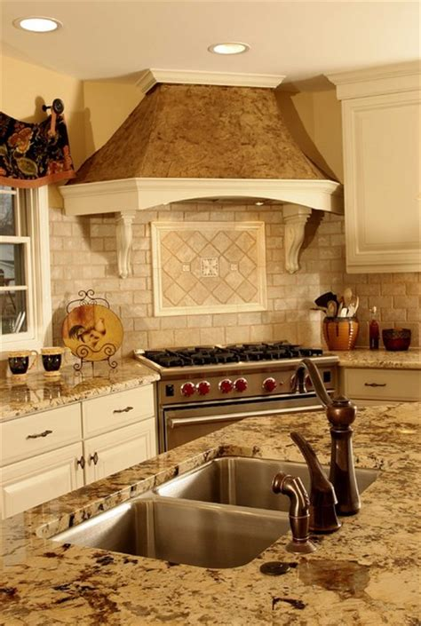 Tile Backsplashes For Kitchens Ideas french country kitchen hood traditional kitchen