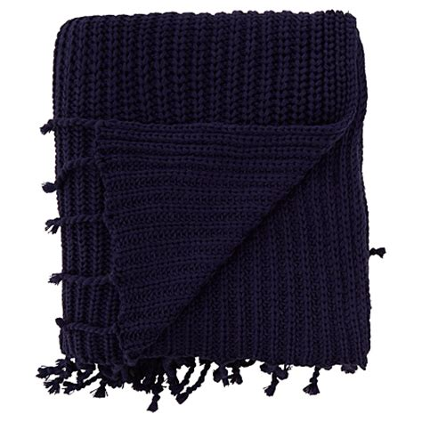 navy knit throw george home navy knitted throw blankets throws asda