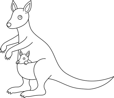cartoon kangaroo coloring pages colorable kangaroo design free clip art