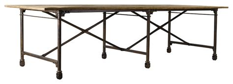 architect dining table 106 quot steel legs on casters