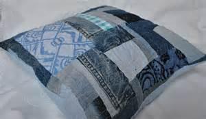 Home Design Down Pillow blue denim crazy scrap patchwork cushion
