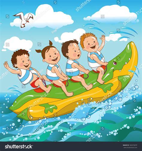 banana boat ride cartoon joyful kids ride on banana boat stock vector 183070079