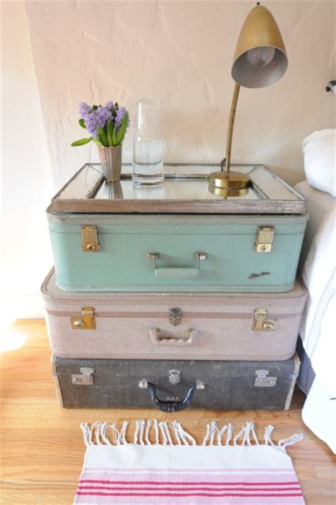 decorating with vintage shabby chic suitcases