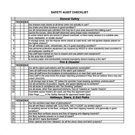 safety audit template sle audit checklist template 13 free documents in pdf