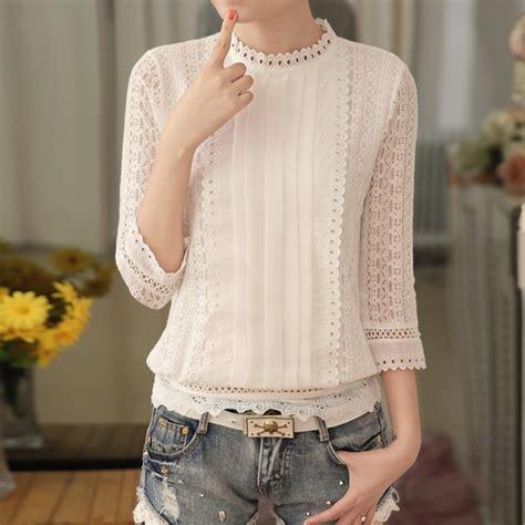 45189 Pink Halter Lace Blouse Blouse Pink Renda Hitam white lace blouse 3 4 sleeve
