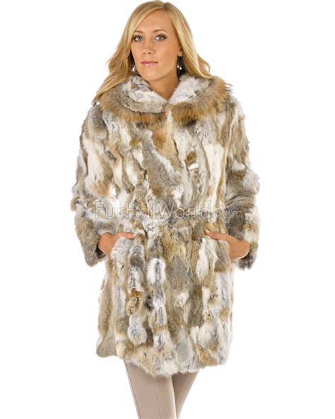 fur coat quinn rabbit fur car coat with in brown furhatworld