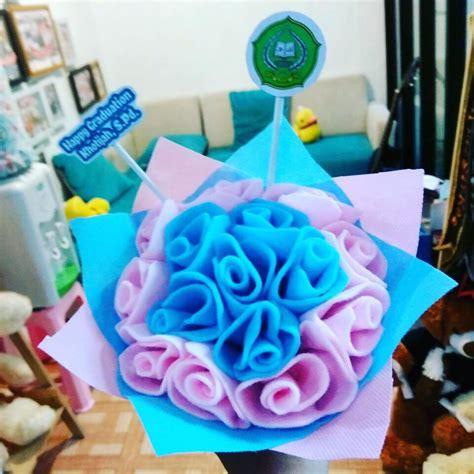 Buket Flanel Bunga Tulisan 20cm 1 jual hadiah skripsi boquet bunga flanel request kado wisudaku