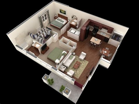 Home Design 3d Two Floors 50 3d Floor Plans Lay Out Designs For 2 Bedroom House Or