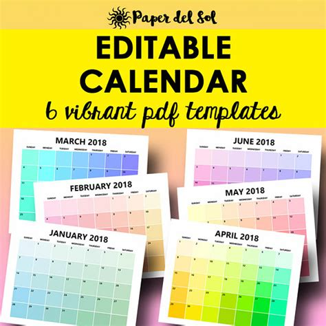 Free Editable Monthly Calendar Template